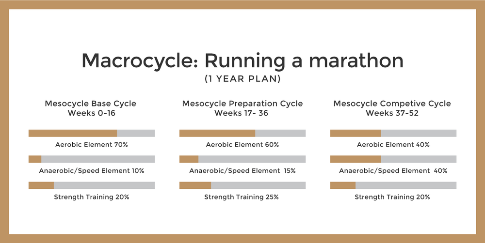 An example of a year macrocycle in the preparation for a marathon run (Please note that percentages of training refers to the duration or time spent on that area of training)