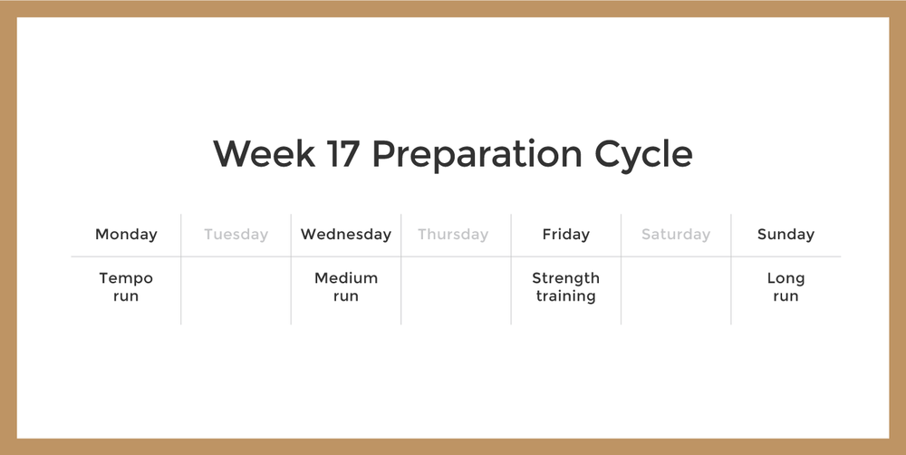 An example of week 17 in the preparation cycle might look like this