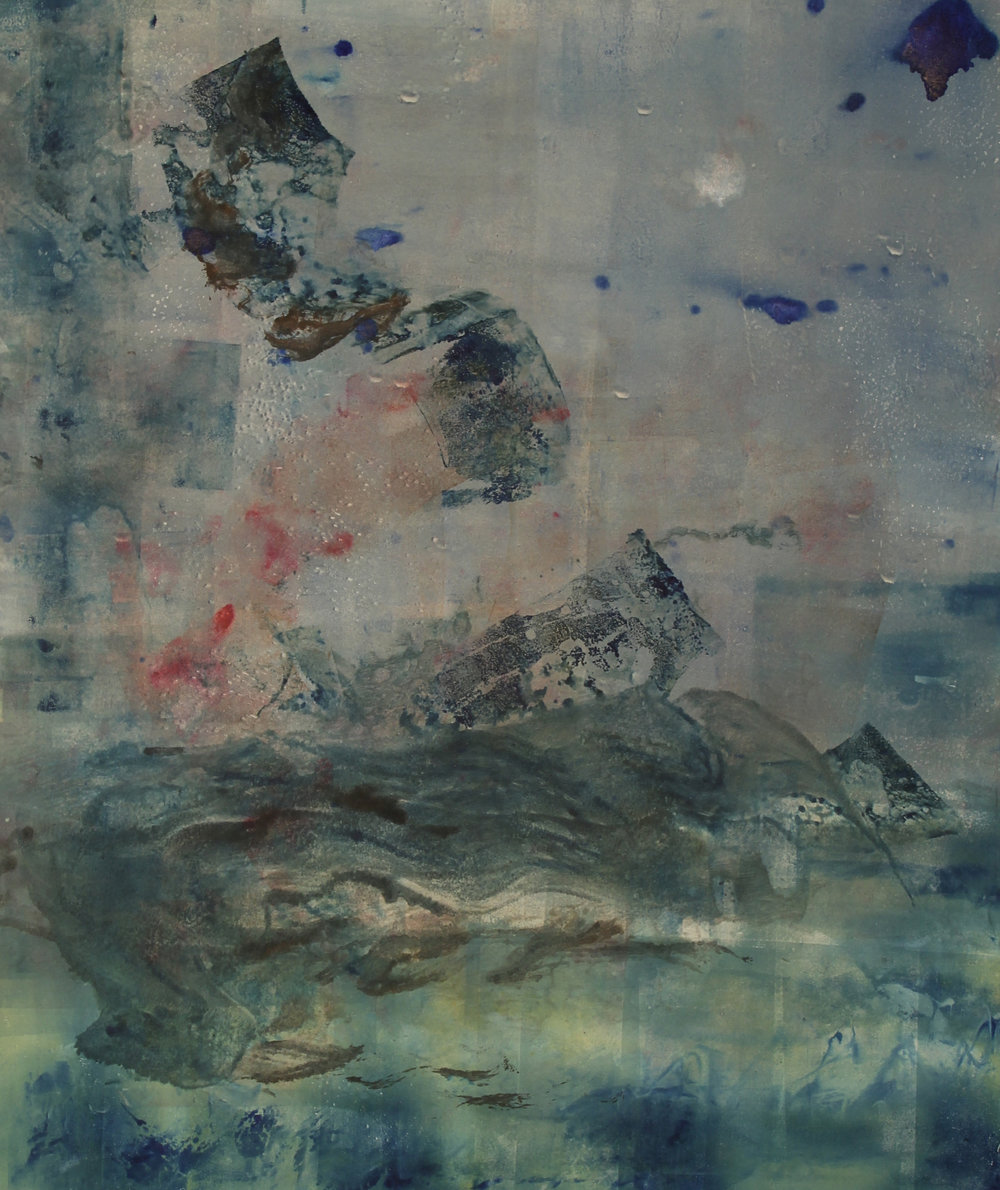 "Blue Dreams Interrupted, mixed media on paper, 36""x48"", 2014."