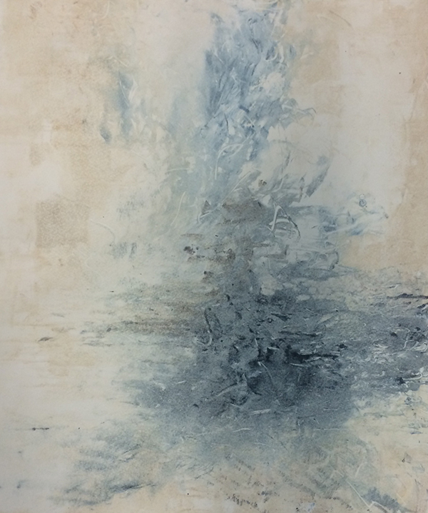 "Fading But Still There, mixed media on paper, 36""x48"", 2015."