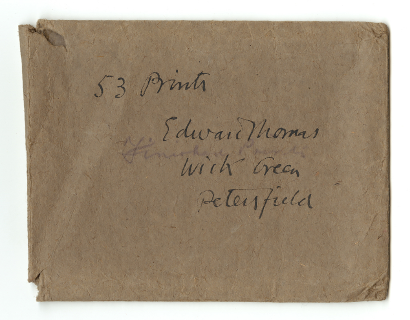 The envelope containing Edward Thomas' photographs from In Pursuit of Spring, 1913.