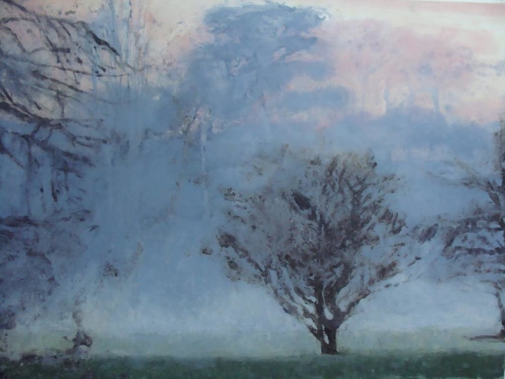 Riverbank, mist, (blue)