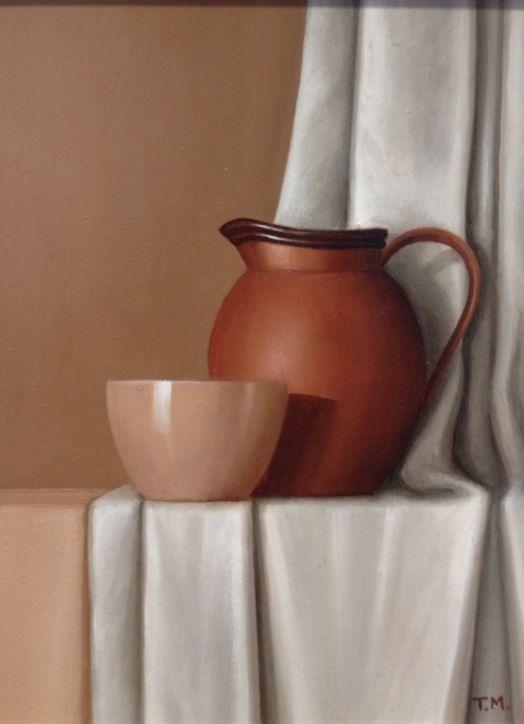 Brown Jug and White Fabric