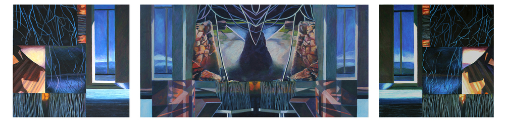 Panorama (Triptych)  Mary Burke. Oil Pastel on Canvas  60 cm x 240 cm  €3500.
