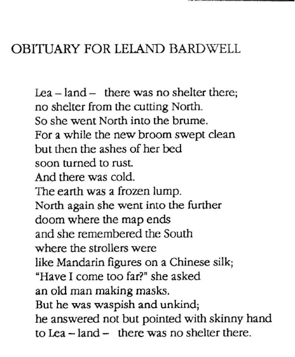 From The Noise of Masonry Settling | Leland Bardwell |  Published by  Dedalus Press.