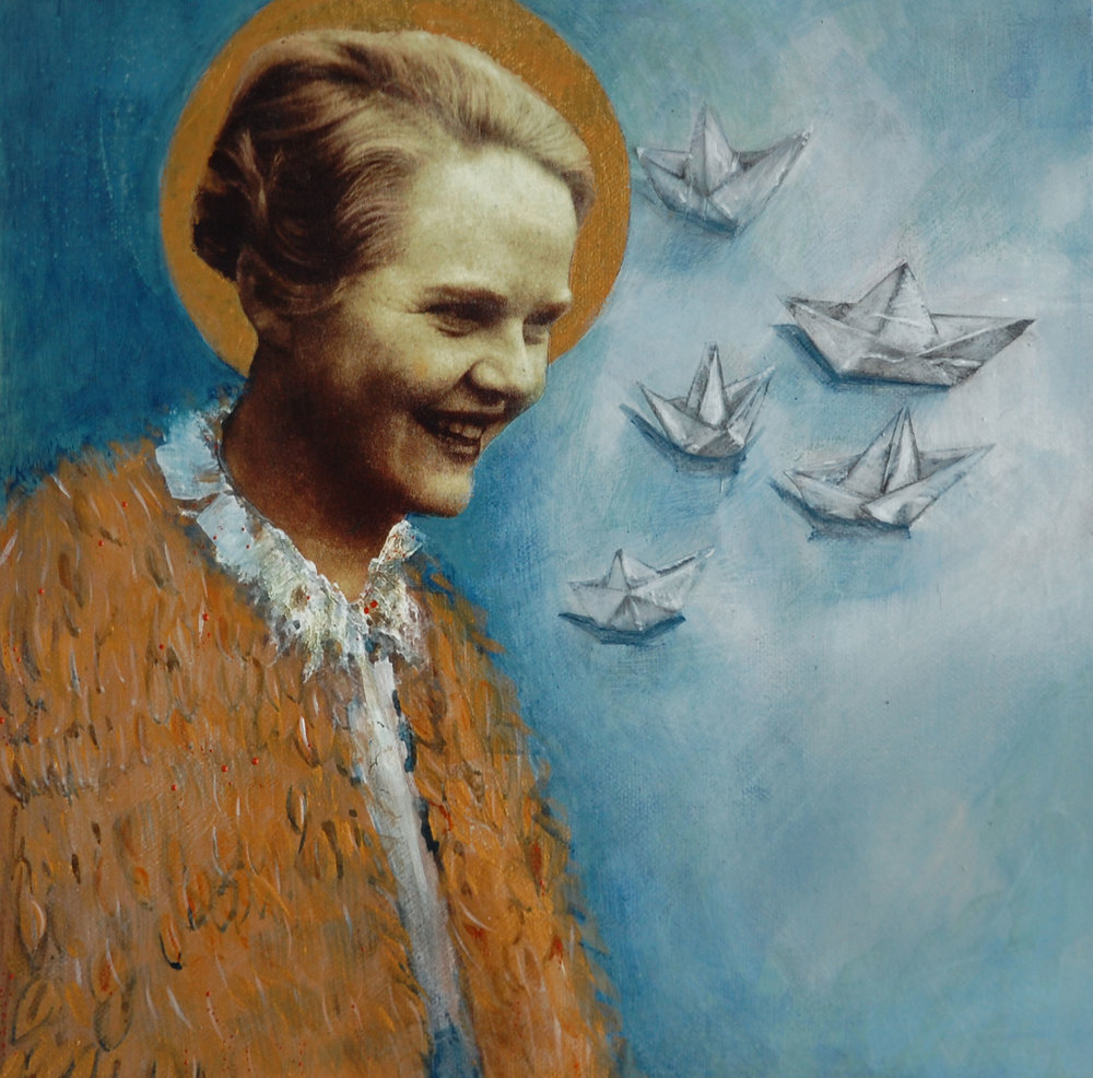 Gillard, Medbh - Bridie. Patron Sainteen of Paper Boats  mixed media on canvas € 285.jpg