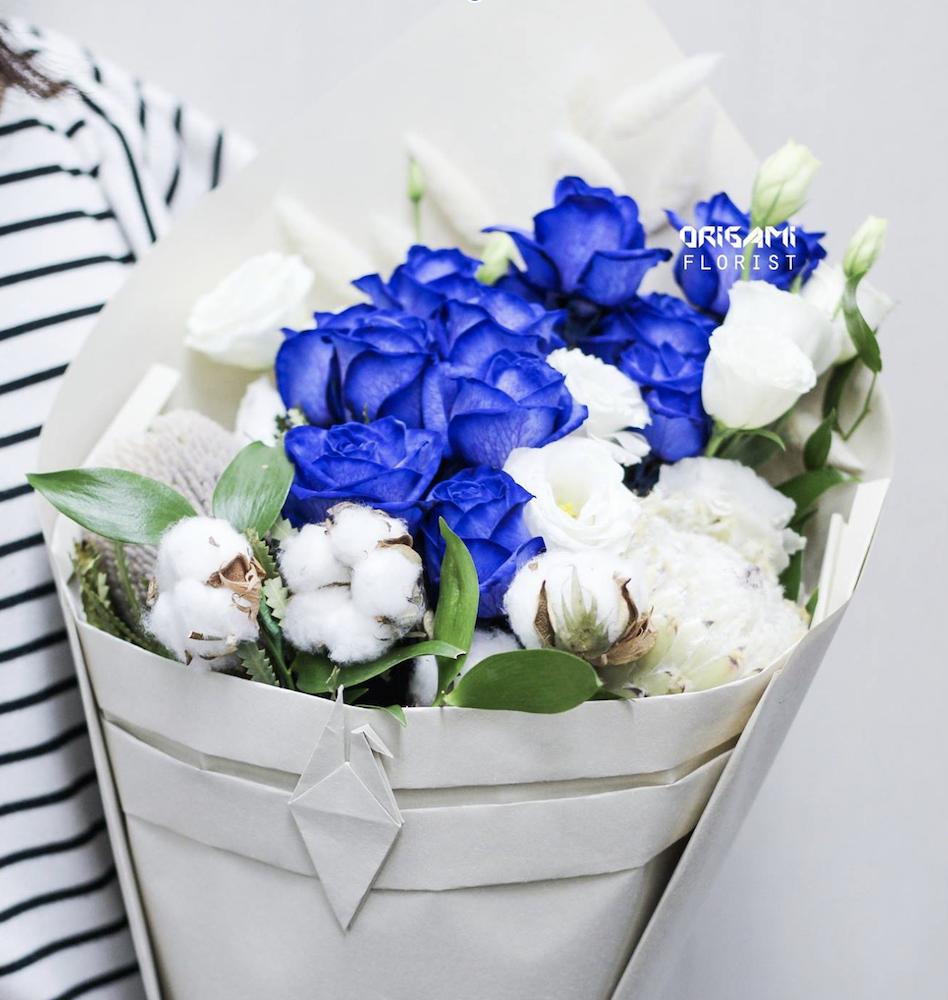 Royal Blue Bouquet — Origami Florist