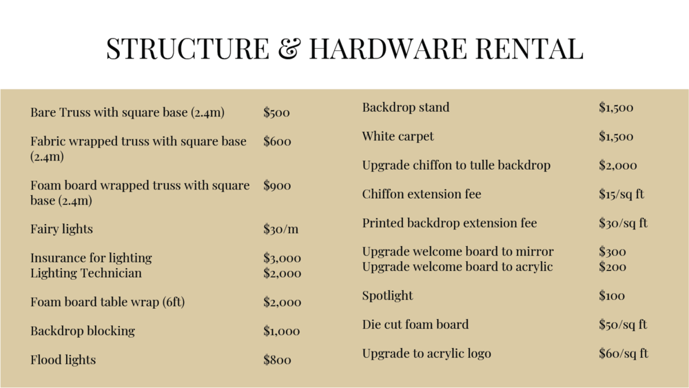 origami florist structure hardware rate card