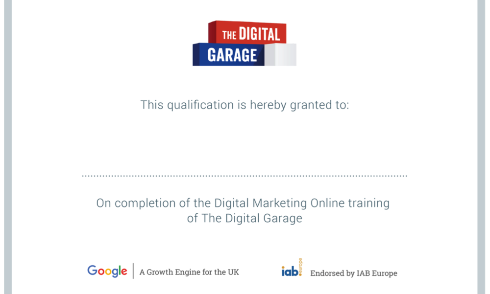 An Example of a google certificate from  The Digital Garage