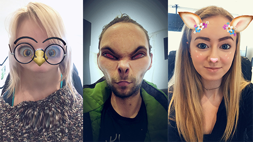 Snapchat uses augmented reality in their filters which keeps the virtual glasses, ears, face changes attached the face while on the screen. (Little team photo!)