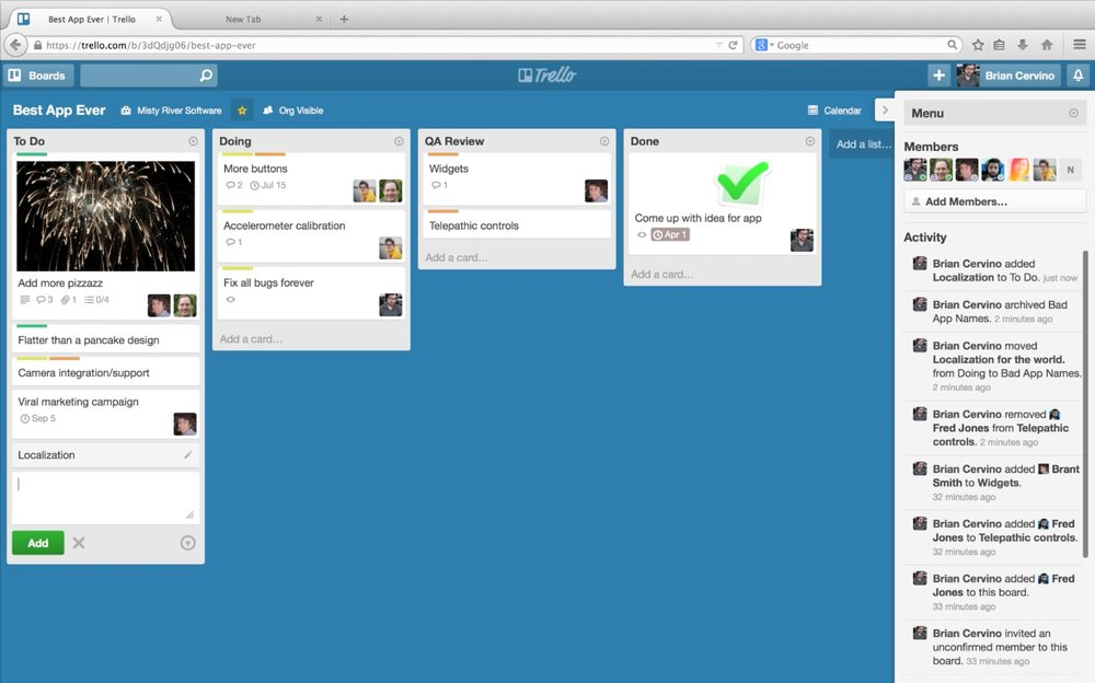 Example of Trello's board.  Source .