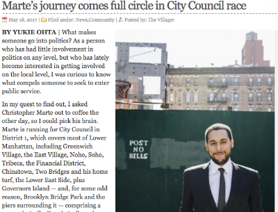"""""""Marte's journey comes full circle in City Council race"""" - The Villager"""