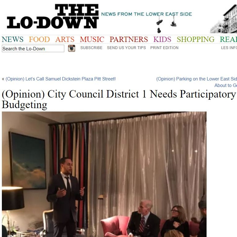 """""""(Opinion) City Council District 1 Needs Participatory Budgeting"""" The Lo-Down"""