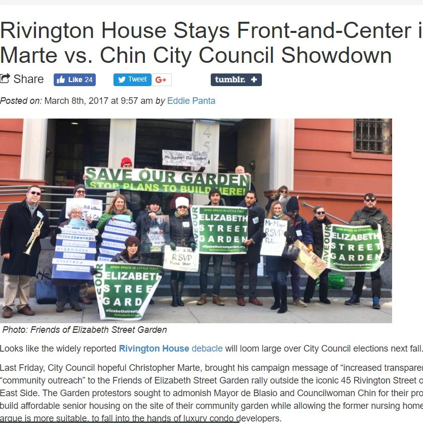 """""""Rivington House stays Front-and-Center in Marte vs Chin City Council Showdown"""" Bowery Boogie"""
