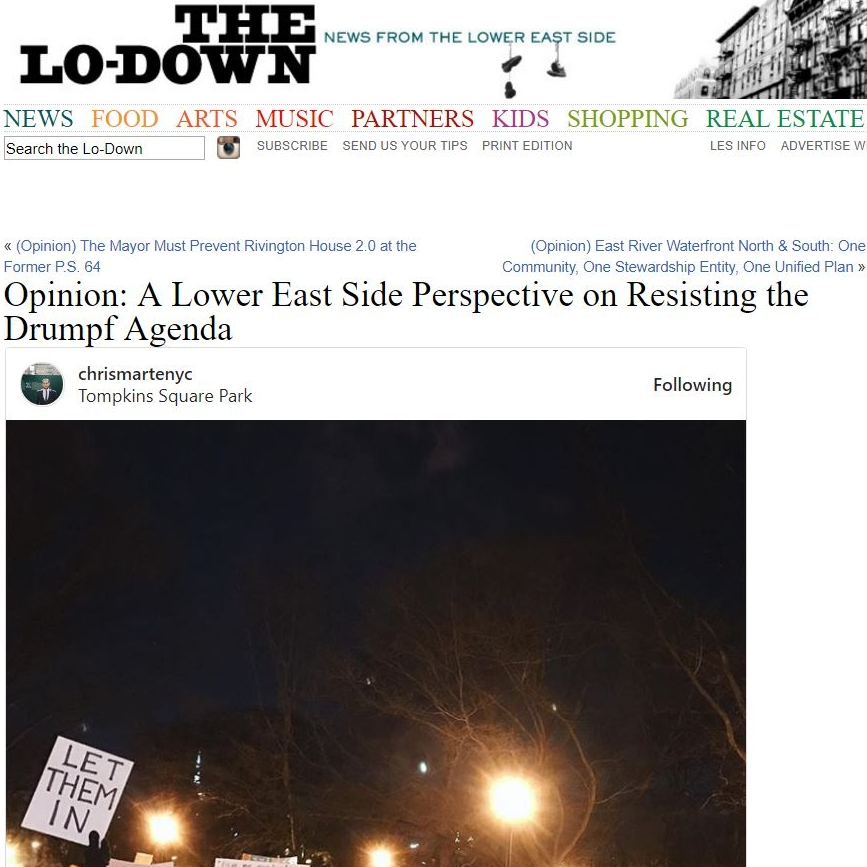 """""""(Opinion) A Lower East Side Perspective on Resisting the Trump Agenda"""" The Lo-Down"""