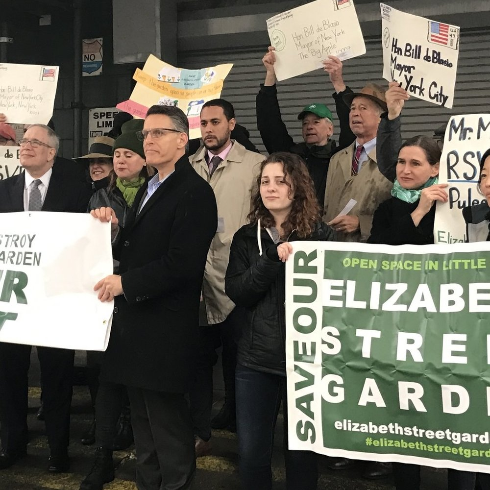 """""""300 Rally to save garden; 'City pits parks v. housing' """" The Villager"""