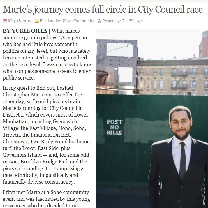 """""""Marte's Journey comes Full Circle in Council Race"""" The Villager"""