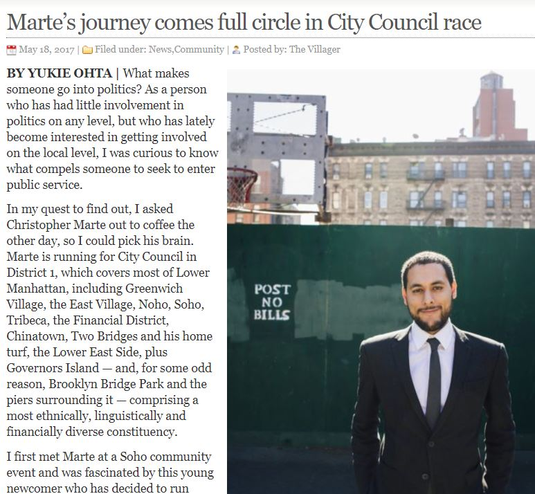 """THE VILLAGER     """"Marte comes full circle in City Council race"""""""