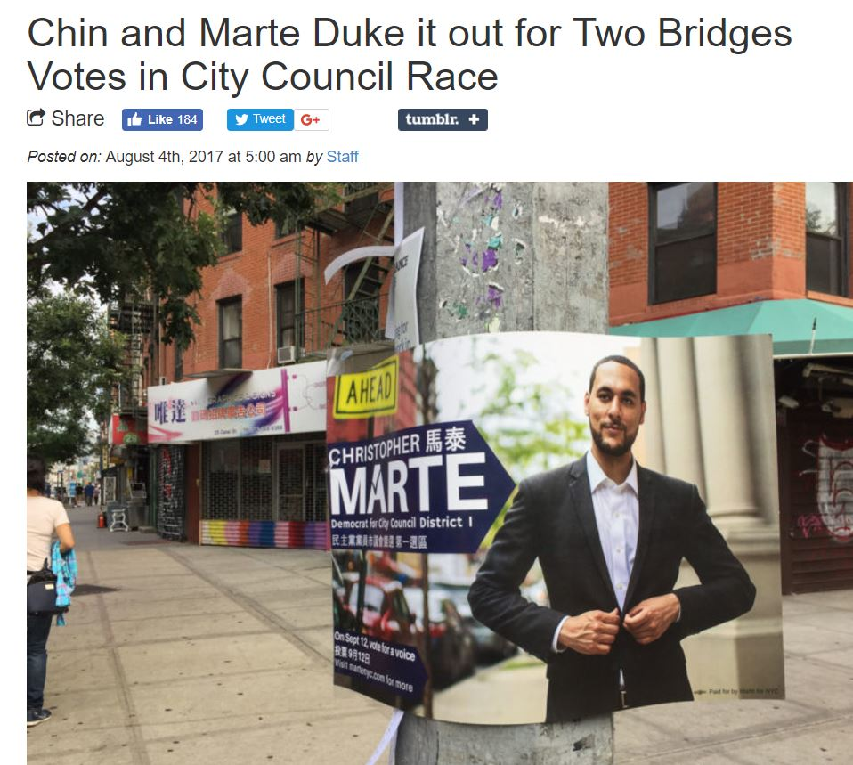 "BOWERY BOOGIE ""Chin and Marte Duke it out for Two Bridges Votes in City Council Race"""