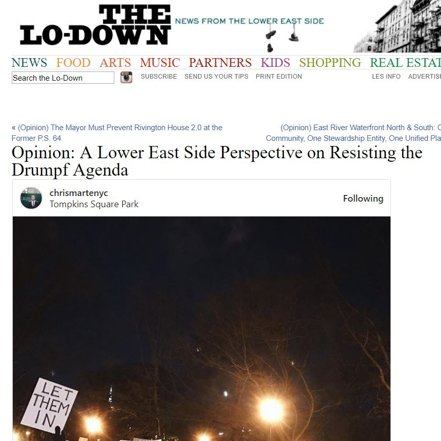 "THE LO-DOWN ""A Lower East Side Perspective on Resisting the Drumpf Agenda"""