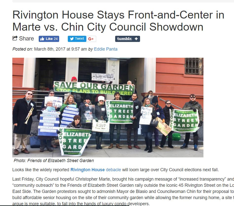 """BOWERY BOOGIE     """"Rivington House Stays Front-and-Center in Marte vs. Chin City Council Showdown"""""""