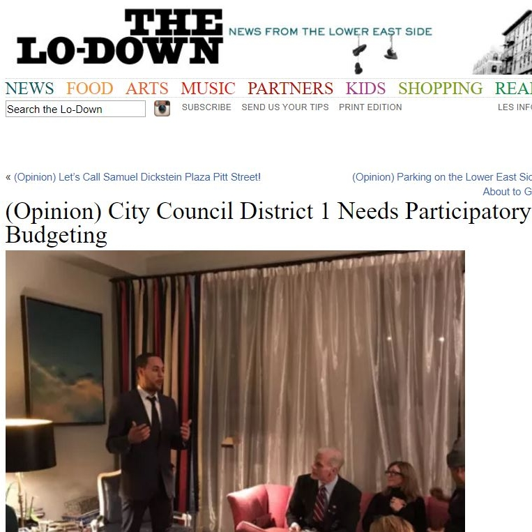 """THE LO-DOWN     """"City Council District 1 Needs Participatory Budgeting"""""""