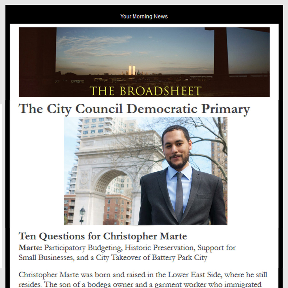 "THE BROADSHEET ""Marte: Participatory Budgeting, Historic Preservation, Support for Small Businesses, and a City Takeover of Battery Park City"""