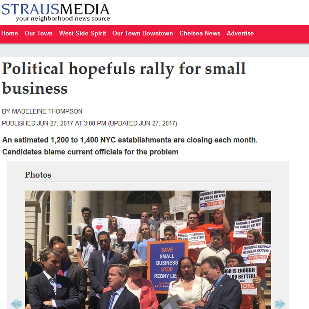 """WEST SIDE SPIRIT     """"Political hopefuls rally for small businesses"""""""