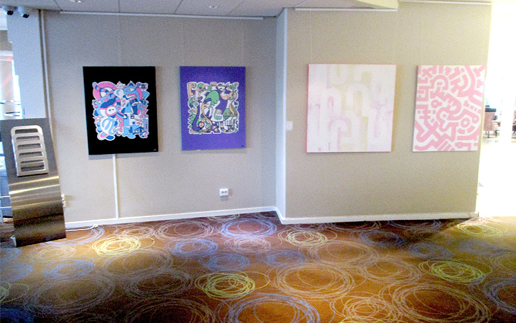 Mr. Upside Artworks Paintings hanging in the Hilton Hotel Slussen in Stockholm, Sweden 03