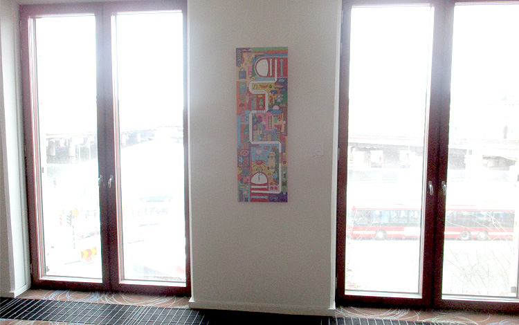 Mr. Upside Artworks Paintings hanging in the Hilton Hotel Slussen in Stockholm, Sweden 06