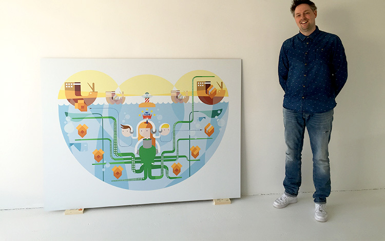 Dutch artist Michiel Nagtegaal a.k.a. Mr. Upside. Commissioned digital illustration by Dutch artist Mr. Upside for telecommunications provider KPN printed on aluminium Dibond arrived today at the Mr. Upside Gallery in Voorburg, The Netherlands
