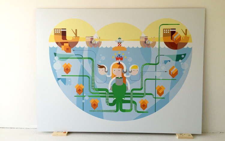 Full front view of the commissioned digital illustration by Dutch artist Mr. Upside for telecommunications provider KPN printed on aluminium Dibond. It arrived today at the Mr. Upside Gallery in Voorburg, The Netherlands