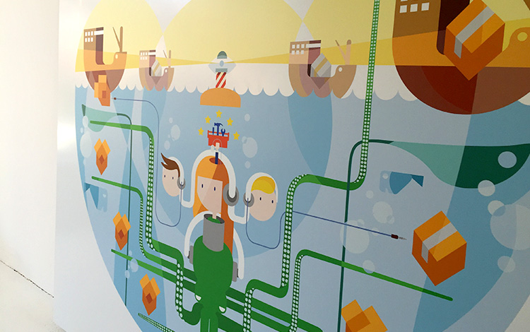 Close up and explanation of the design of the commissioned digital illustration by Dutch artist Mr. Upside for telecommunications provider KPN printed on aluminium Dibond arrived today at the Mr. Upside Gallery in Voorburg, The Netherlands
