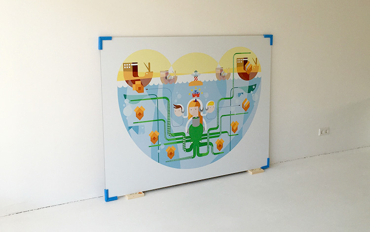 Commissioned digital illustration by Dutch artist Mr. Upside for telecommunications provider KPN printed on aluminium Dibond arrived today at the Mr. Upside Gallery in Voorburg, The Netherlands