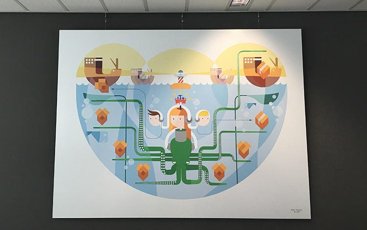 Commission illustration 'Under Water' by Dutch artist Mr. Upside printed on aluminum Dibond, deliverd at the KPN office in Amsterdam, The Netherlands 1