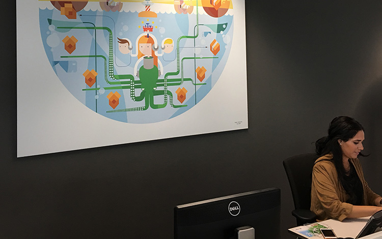 Commission illustration 'Under Water' by Dutch artist Mr. Upside printed on aluminum Dibond, deliverd at the KPN office in Amsterdam, The Netherlands 3