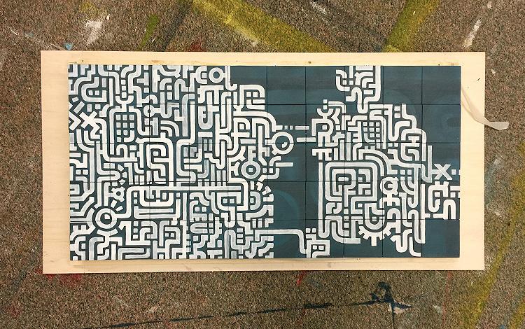 Work in Progress on the wooden blocks - almost done - Artwork Dutch contemporary artist Mr. Upside Michiel Nagtegaal painting KPN Teamdag 2016 give-away gift kunst cadeau in Mr. Upside Studio