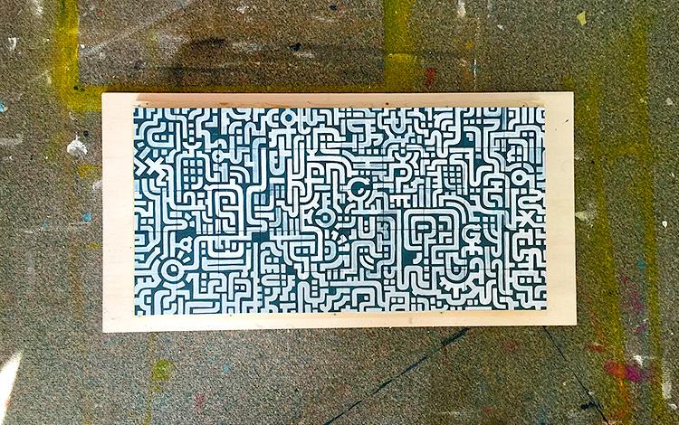 Finished the line work of the painting - Photo 1 - Artwork Dutch contemporary artist Mr. Upside Michiel Nagtegaal painting KPN Teamdag 2016 give-away gift kunst cadeau in Mr. Upside Studio