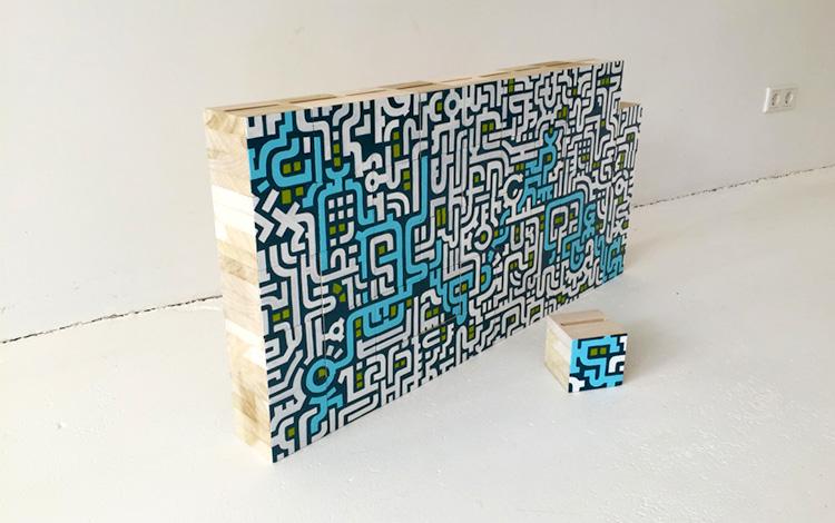Complete wall of wooden blocks with Separate wooden block- Mr. Upside Gallery Voorburg - Artwork Dutch contemporary artist Mr. Upside Michiel Nagtegaal painting KPN Teamdag 2016 give-away gift kunst cadeau in Mr. Upside Studio