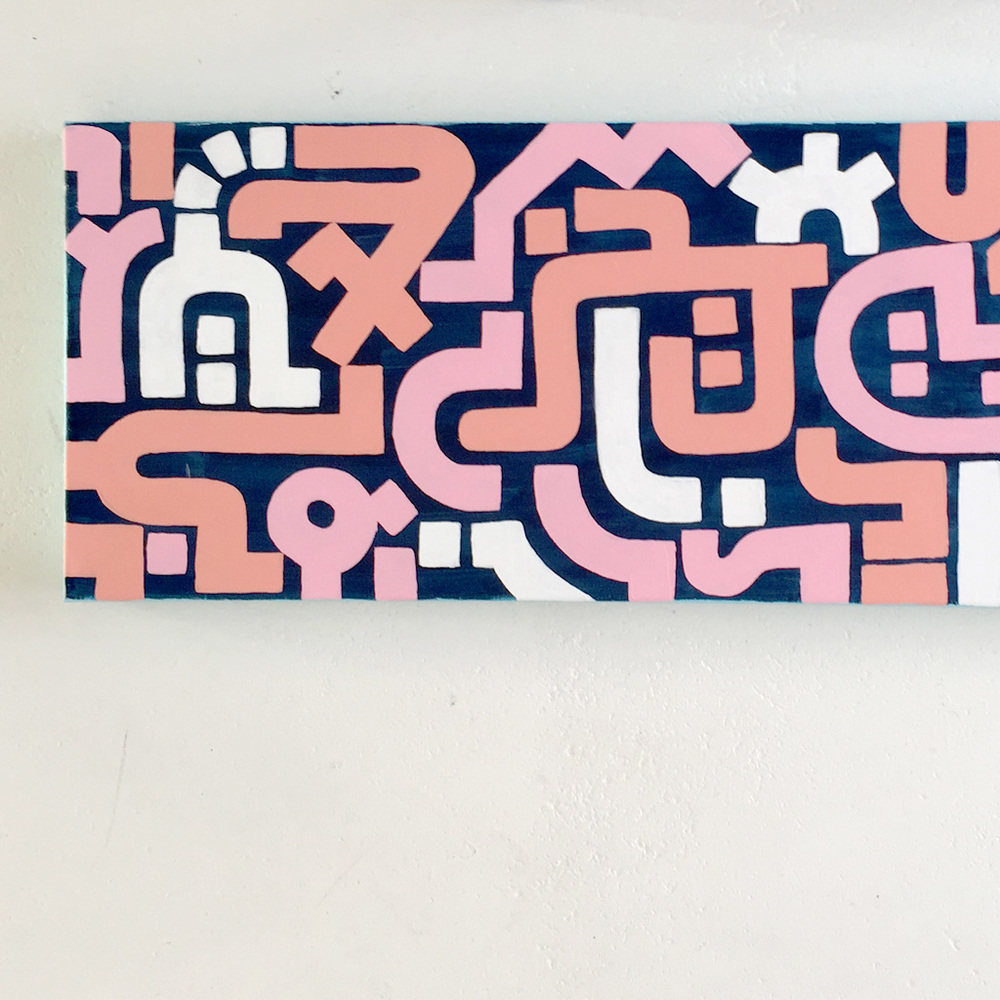Photo 3 of artwork Bold Pink is an asbtract painting with pink, white and orange lines on a dark blue canvas by Dutch contemporary urban artist Michiel Nagtegaal