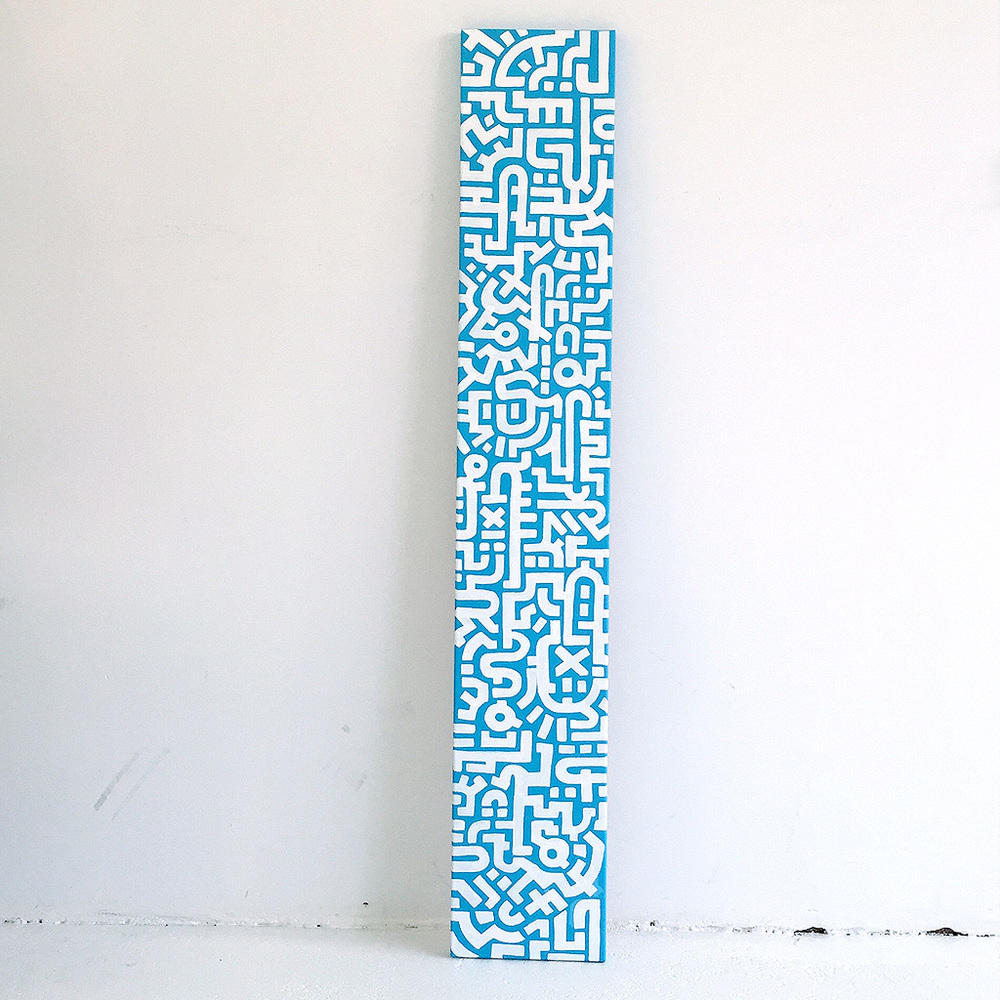 Photo 2 of artwork White Noise - a painting on canvas by Dutch contemporary urban artist Michiel Nagtegaal / Mr. Upside.