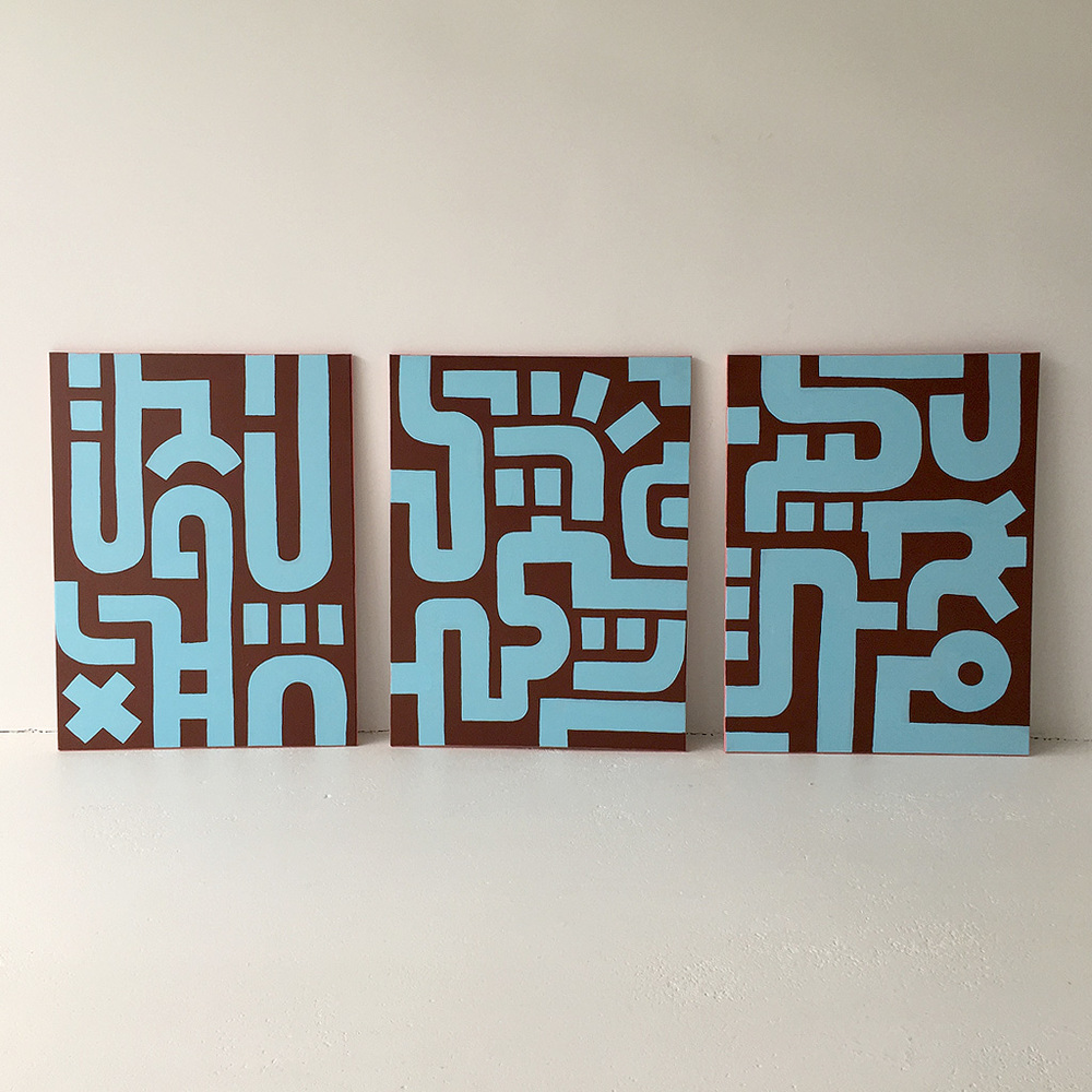 Photo 1 of Bold Blue on Brown III with the other two paintings in the series on canvas by Dutch contemporary urban artist Michiel Nagtegaal / Mr. Upside.
