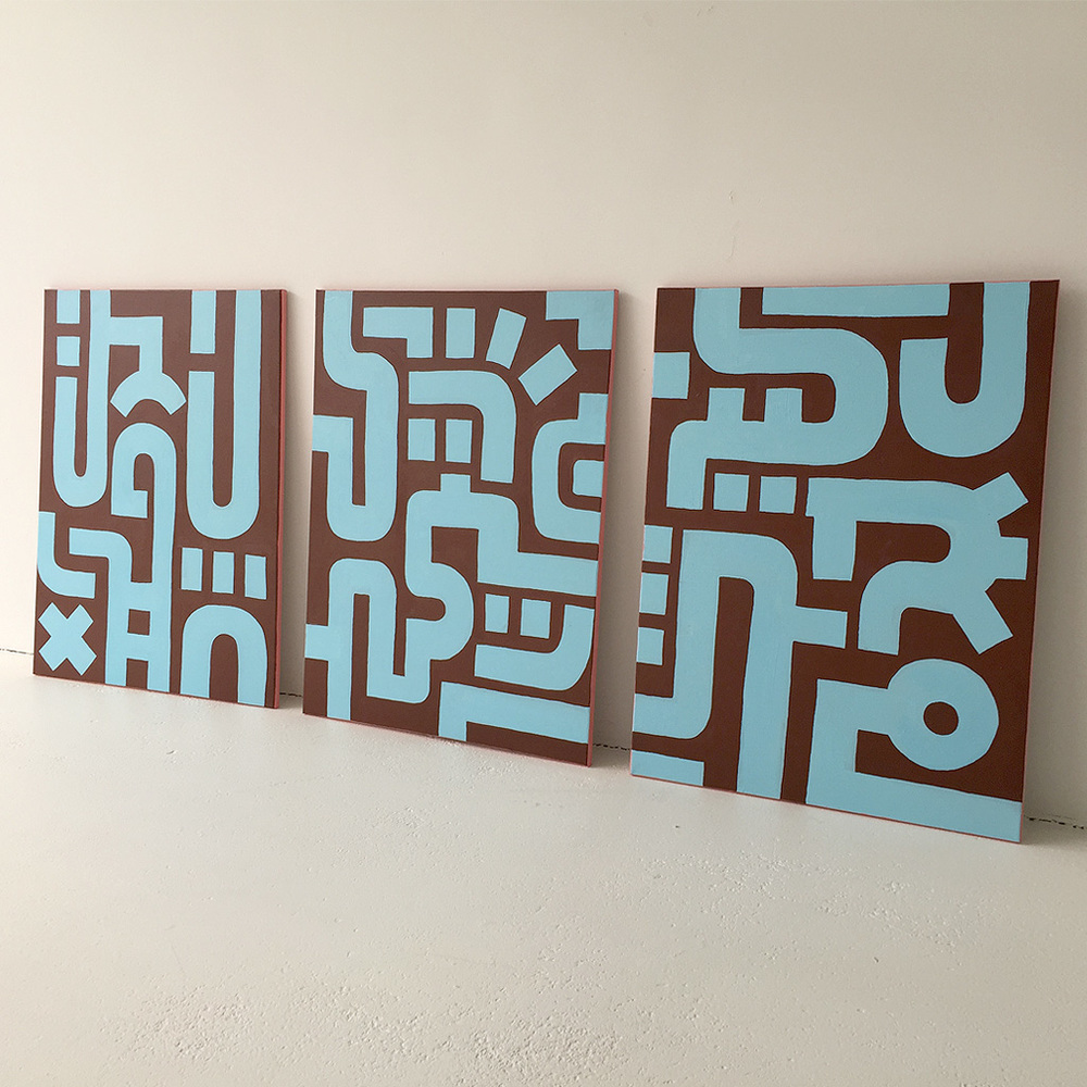 Photo 2 of Bold Blue on Brown III with the other two paintings in the series on canvas by Dutch contemporary urban artist Michiel Nagtegaal / Mr. Upside.