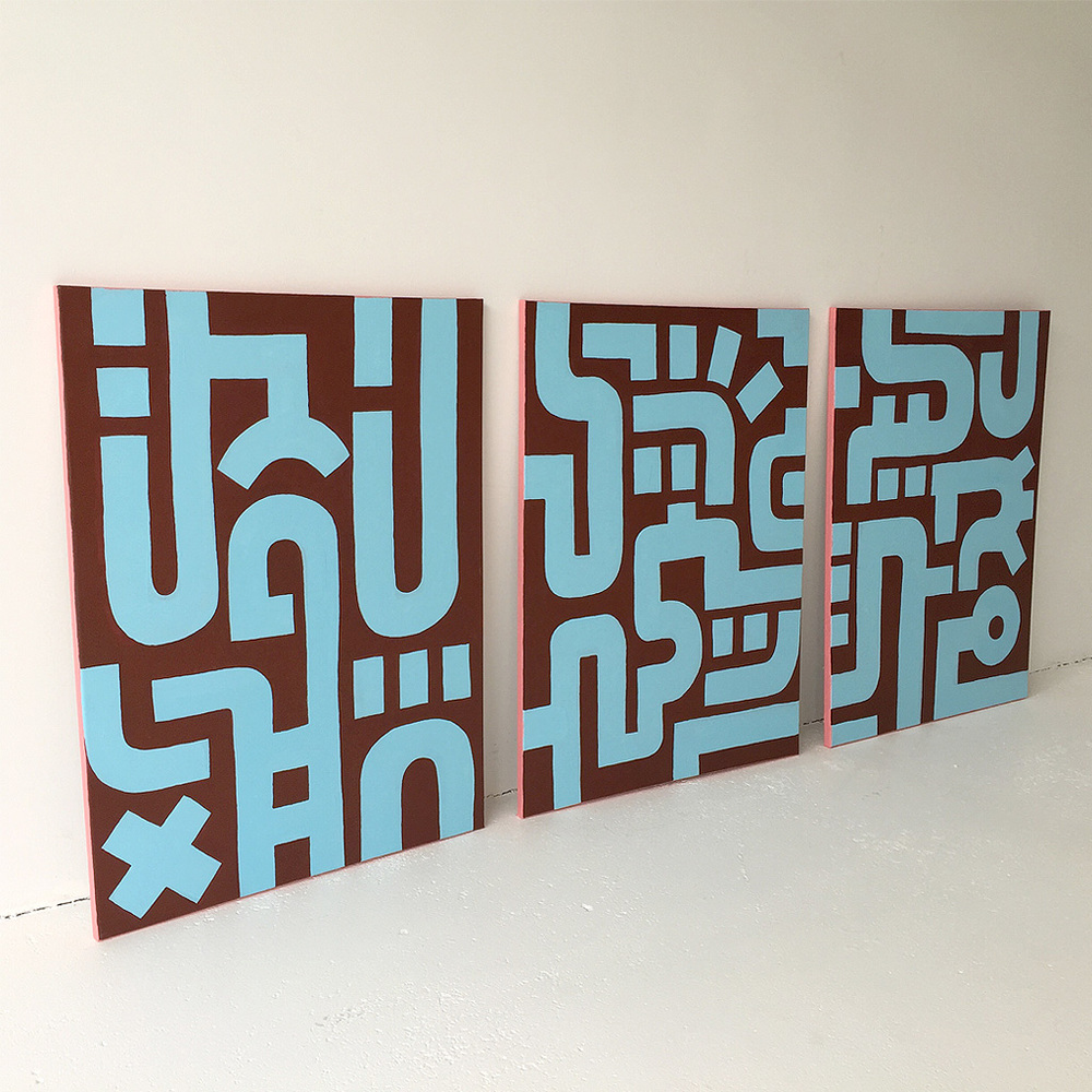 Photo 3 of Bold Blue on Brown III with the other two paintings in the series on canvas by Dutch contemporary urban artist Michiel Nagtegaal / Mr. Upside.