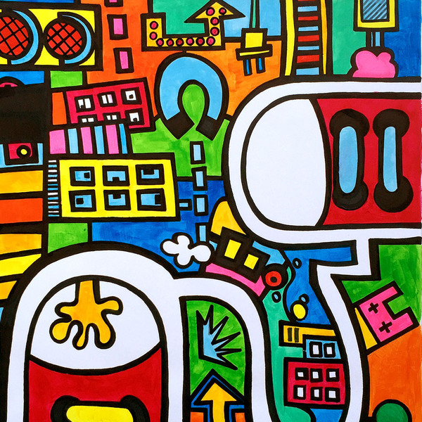 Photo 3 of artwork City Colors, it is a painting / illustration on heavy paper by Dutch contemporary urban artist Michiel Nagtegaal / Mr. Upside.