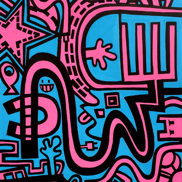 Photo 3 of artwork City in Blue and Pink, it is a painting / illustration on heavy paper by Dutch contemporary urban artist Michiel Nagtegaal / Mr. Upside.