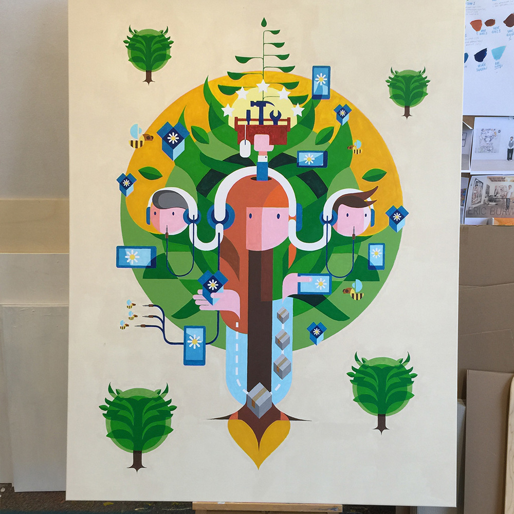 Photo 1 of artwork Ecosystem, it is a commissioned painting / illustration by Dutch telecommunications provider KPN, created by Dutch contemporary urban artist Michiel Nagtegaal / Mr. Upside.