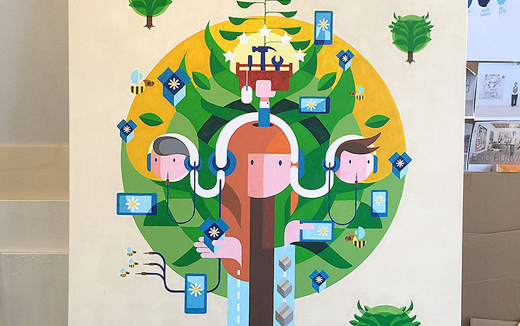Photo 2 of artwork Ecosystem, it is a commissioned painting / illustration by Dutch telecommunications provider KPN, created by Dutch contemporary urban artist Michiel Nagtegaal / Mr. Upside.