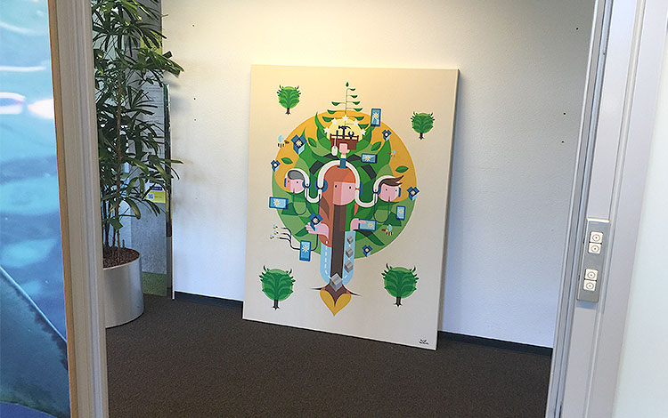 Photo 3 of artwork Ecosystem, it is a commissioned painting / illustration by Dutch telecommunications provider KPN, created by Dutch contemporary urban artist Michiel Nagtegaal / Mr. Upside.