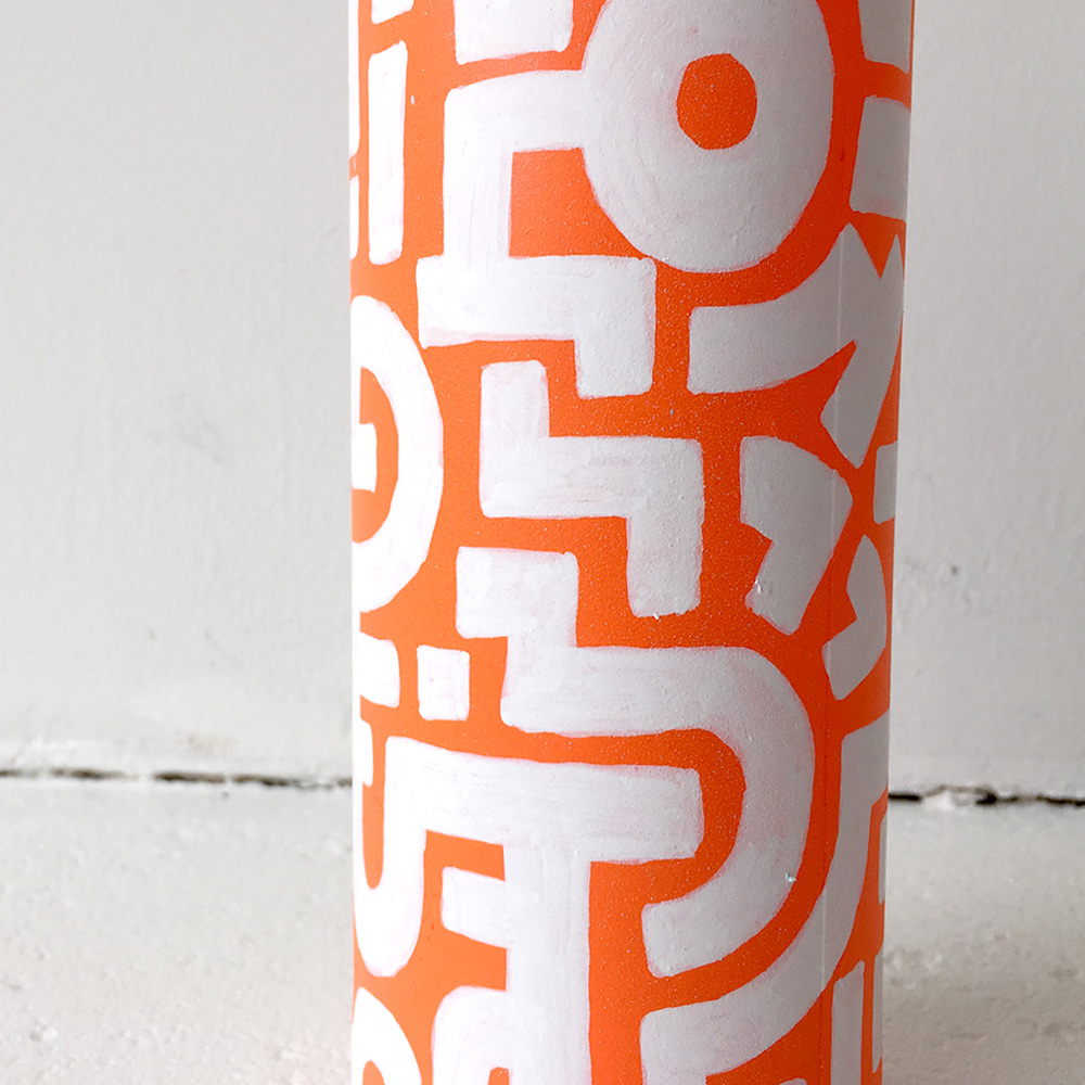 Photo 5 of Art Bottle 'Bright Orange with Light Blue and White'. The art object is a painted wine bottle by Dutch contemporary urban artist Michiel Nagtegaal / Mr. Upside.